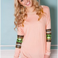 Little Details Top- Peach