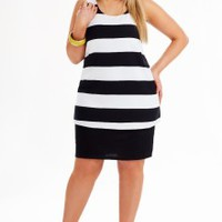 Striped Overlay Dress | Dresses | Dream Diva | Plus Size and Larger Sized Clothing for Women