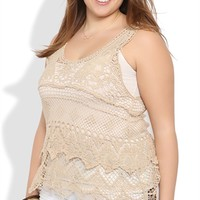 Plus Size Embroidered Crochet Tank with Scalloped Bottom