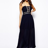 Club L Maxi Dress with Gold Trim Detail