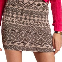 TRIBAL PRINT BODY-CON MINI SKIRT