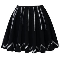 Fluid Stripes Black Skater Skirt