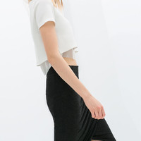 CROPPED NEOPRENE T-SHIRT