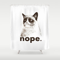 NOPE - Grumpy cat. Shower Curtain by John Medbury (LAZY J Studios)