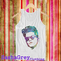 Bruno mars face liryc White _ Tank Top Men's Size S - XXL Design By : sashagreystore