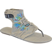 Sun Luks Womens Printed Canvas Cutout Gladiator Sandals - Gray | Meijer.com