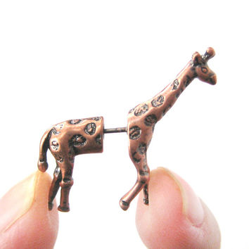 Fake Gauge Giraffe Shaped Plug Animal Stud Earrings in Copper
