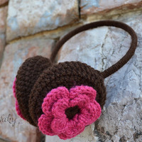 Brown earmuffs with pink flower, spring design