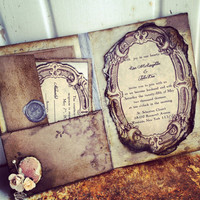 Pocketfold Wedding Invitations Vintage Book Victorian Wedding Pride and Prejudice Invitation
