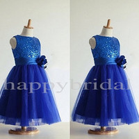 Beautiful Royal Blue Sequined Flower Girl Dresses Tulle Flower Girl Dress Unique Flower Wedding Dresses