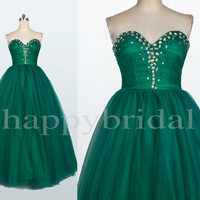 Long Green Beaded Prom Dresses Shinning Crystal Party Dresses Ball Gown Homecoming Dresses New Custom Made
