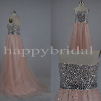 Long Pink Beaded Prom Dresses Tulle Party Dresses Formal Party Evening Dresses Homecoming Dresses