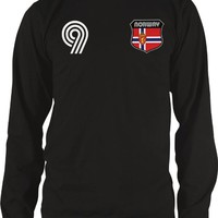Norway Crest Retro International Soccer Thermal Shirt, Norwegian National Pride Mens Long Sleeve Thermal Shirt, Small, Black
