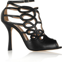 Oscar de la Renta Napo cutout leather sandals – 60% at THE OUTNET.COM