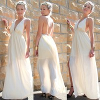 CREAM SLIT SIDE PLUNGE NECK FORMAL GODDESS BACKLESS MAXI DRESS 6 8 10 12