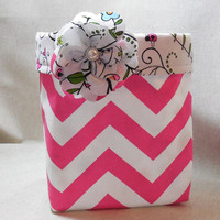 Pink and White Chevron Fabric Basket With Floral Liner and Detachable Fabric Flower Pin