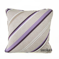 PURPLE And TAUPE PILLOW Cover - Self Welt, White Cotton Back -Available in 4 Sizes