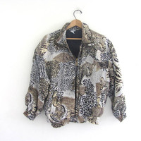 vintage silk tiger jacket. silk windbreaker. spring jacket. animal print coat. women's size S