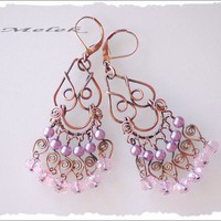 Wire Wrapped Lavender Pink  Copper Dangle Earrings | Melekdesigns - Jewelry on ArtFire
