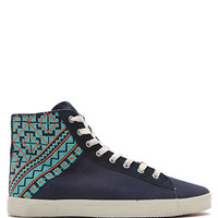 Kim and Zozi Woven Print Heel High Top Sneakers at PacSun.com
