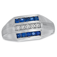 Men's Princess-Cut Lab-Created Sapphire and Diamond Accent Ring in 10K White Gold - View All Rings - Zales