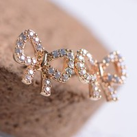 Golden Bow Full Rhinestone Earrings