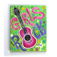 Art for Kids - GIRLS ROCK #4 -11x14 Acrylic Painting - Rock and Roll themed decor for tween and teen girls