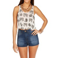 White Elephant Crop Top