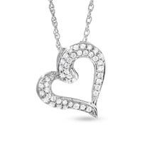 1/5 CT. T.W. Diamond Pavé Tilted Heart Pendant in 10K White Gold - View All Necklaces - Zales