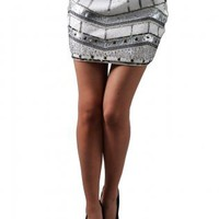 White Sequin Embellished Tribal Mini Skirt