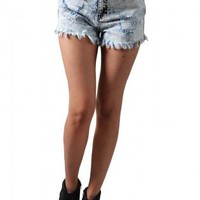 Distressed Acid-Wash High-Waist Cutoffs