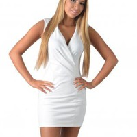 White Fitted V-Neck Mini Dress