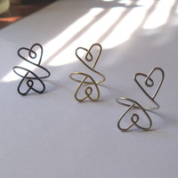 Double Heart Wire Midi Ring, Adjustable
