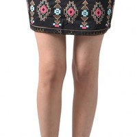 Black Embroidered Tribal Mini Skirt