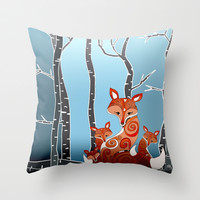 FOX FAMILY Throw Pillow by Monika Strigel