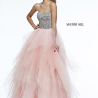 Sherri Hill 11085 - Blush Strapless Beaded Ball Gown Prom Dresses Online