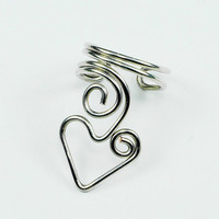 Heart Ear Cuff Silver by ShutUpAndCuffMe on Etsy