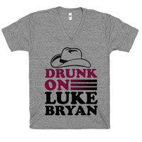 Drunk On Luke Bryan, Country, America, Merica, Cowboy, Shirt, Athletic Grey American Apparel V Neck T Shirt