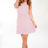 Stripe A Pose Dress: White/Red | Hope's