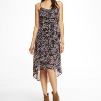 FLORAL PINTUCKED BUTTON FRONT SLIP DRESS