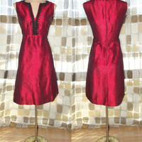 Vintage 60s Crimson Red Shantung MOD Cocktail Dress Jackie O style Beaded Silk Mini M/L