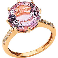 14K Rose Gold Pink Quartz and Diamond Ring | Meijer.com