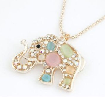 Change Korean Fashion Rhinestone Diamond Crystal Elephants Pendant Long Chain Necklace