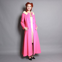 60s Hot Pink COAT, White Mink FUR Collar / Full Length Wool, xs - s