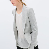 VELOUR BLAZER WITH FAUX LEATHER DETAIL