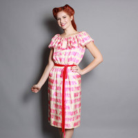 50s Tassel Print SILK DRESS / Pink & White Novelty, FRINGE Collar, Bill Blass, s
