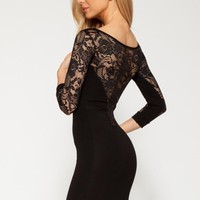 Q9005 Quontum Black Lace Sleeve Dress