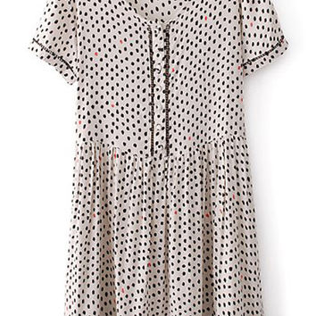 ROMWE Dots Print Pleated Slim Shirt Dress