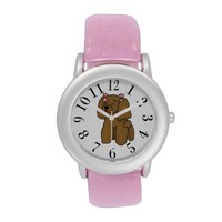 Brown Toy Poodle With Pink Bows Pink Glitter Watch