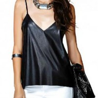 Black V-Neck Faux Leather Tank Top